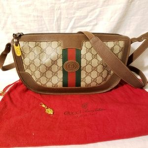 Gucci vintage medium crossbody + gucci charm